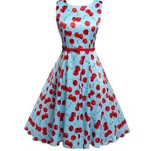 Dresses & Skirts - Belted Cotton Cherry Vintage Tea Dress